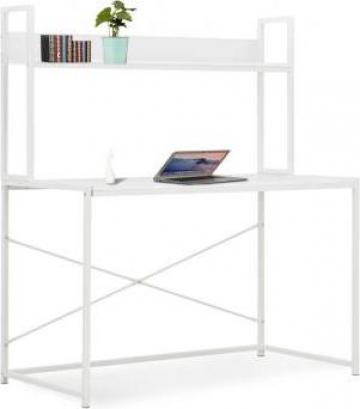 Birou de calculator, alb, 120 x 60 x 138 cm de la Vidaxl