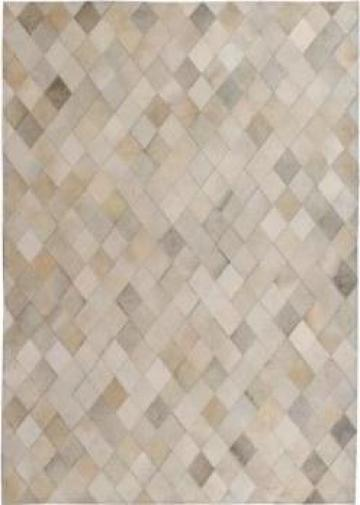 Covor petice, Romb, Piele naturala 80x150 cm Gri