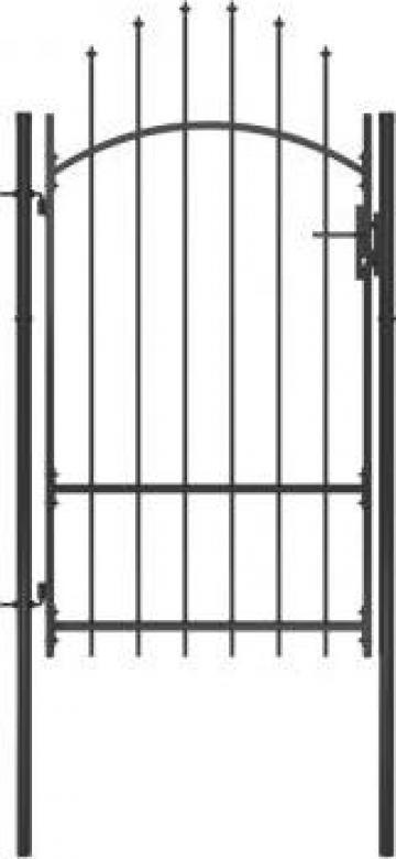 Poarta de gradina, negru, 1 x 2,2 m, otel de la Vidaxl
