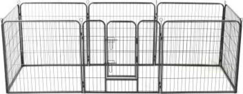 Tarc pentru caini, 8 panouri, otel, 80x80 cm, negru de la Vidaxl