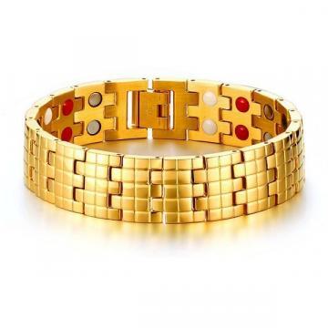 Bratara magnetica din otel inoxidabil pentru barbati Gold de la Arca Hobber Srl