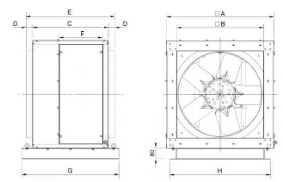 Ventilator 4 poli CHGT4-450-6/-0,55