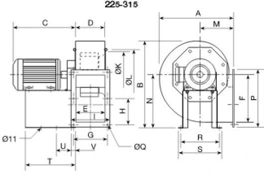 Ventilator centrifugal 400 grd CHMT/4- 250/100-1,1 de la Ventdepot Srl