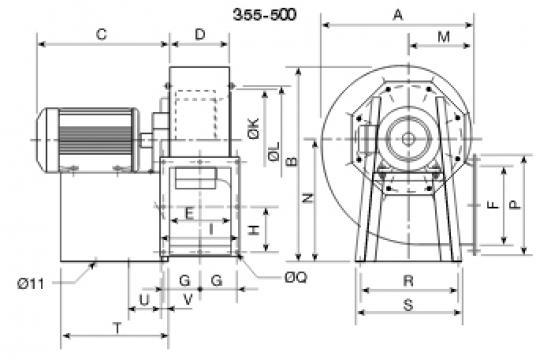 Ventilator centrifugal 400grd CRMT/6- 355/145 1.5Kw de la Ventdepot Srl