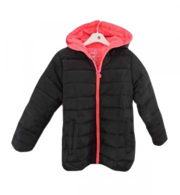 Geaca iarna imblanita cu gluga, negru cu roz neon, fete de la A&P Collections Online Srl-d