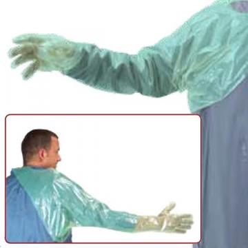 Manusi polietilena LDPE, verzi, cu protectie umar si piept