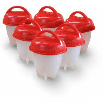 Set 6 recipiente din silicon cu capac pentru fiert oua