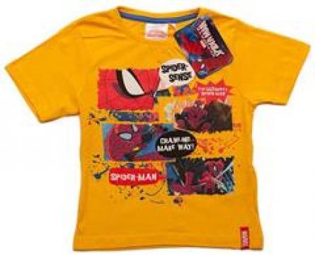 Tricou baieti, Spiderman, bumbac, galben de la A&P Collections Online Srl-d