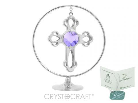 Cruciulita argintie cu Swarovski Blue Circle of faith