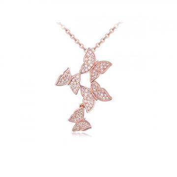 Colier cu cristale Swarovski Rose Butterflies