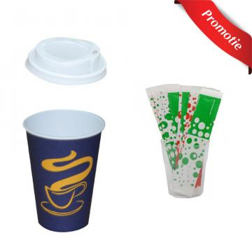 Pahare cafea 1 bax, 1 bax capace si 1 bax palete