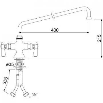Baterie cu doi robineti si alimentare comuna 16, L=400mm