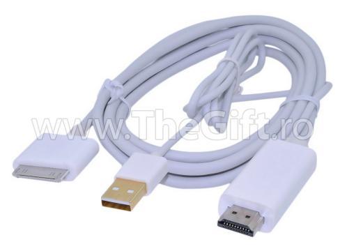 Cablu HDMI cu USB pentru iPad / iPhone / iTouch de la Thegift.ro - Cadouri Online