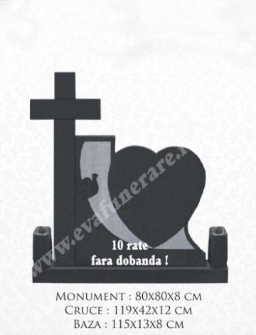 Cruce granit Inima 13 de la Casa Funerara Eva Srl