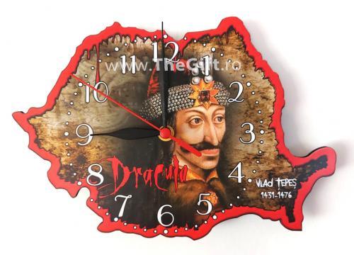 Ceas suvenir harta Romaniei, Dracula de la Thegift.ro - Cadouri Online