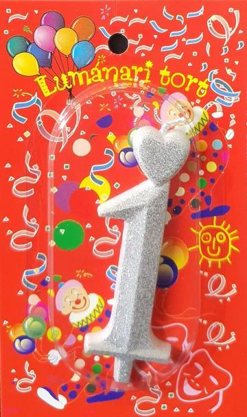 Lumanari tort argintii cifra 1 20 buc/cutie de la Cristian Food Industry Srl.