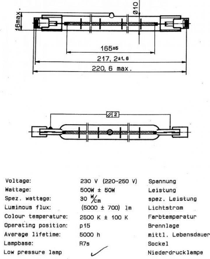 Lampa infrarosu, R7s, 220-250V, 500W, L227mm