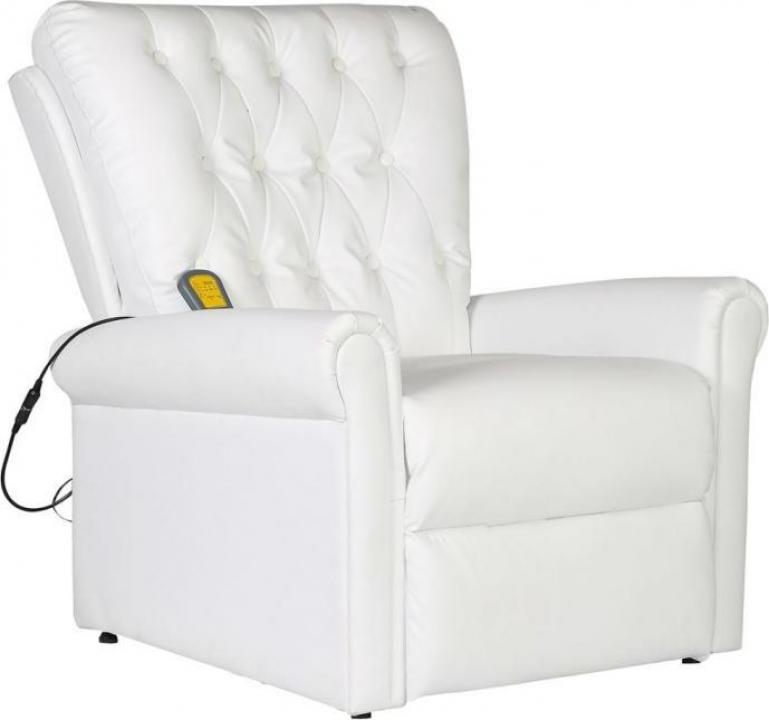 Fotoliu de masaj electric, piele artificiala, alb
