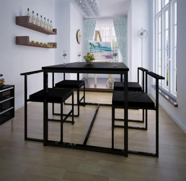 Set masa si scaune de bucatarie, negru, 5 piese