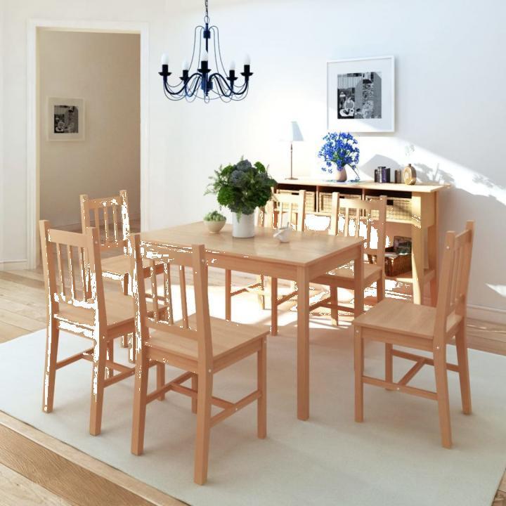 Set masa si scaune din lemn de pin 7 piese