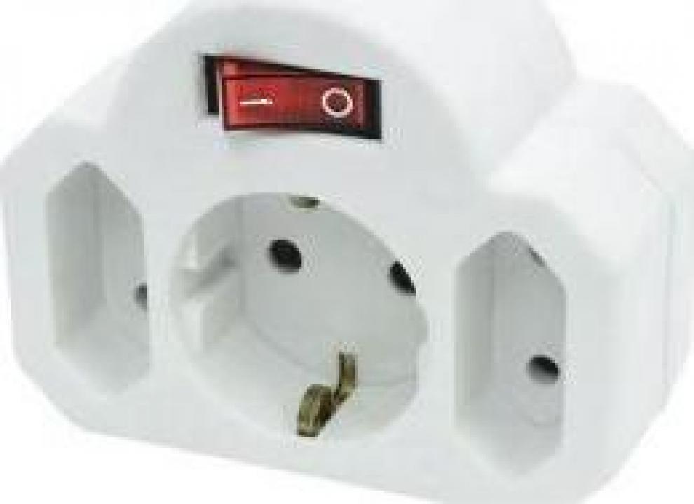 Priza cu intrerupator Home NVK 3 WH, alba, 3 socluri, IP20