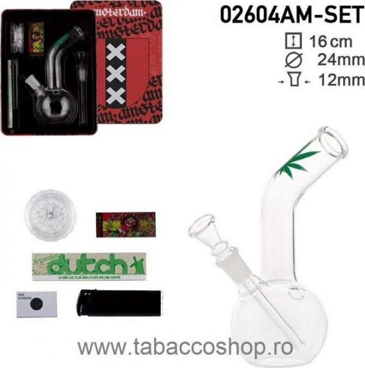 Set bong Amsterdam XXX cu 5 accesorii in cutie metalica