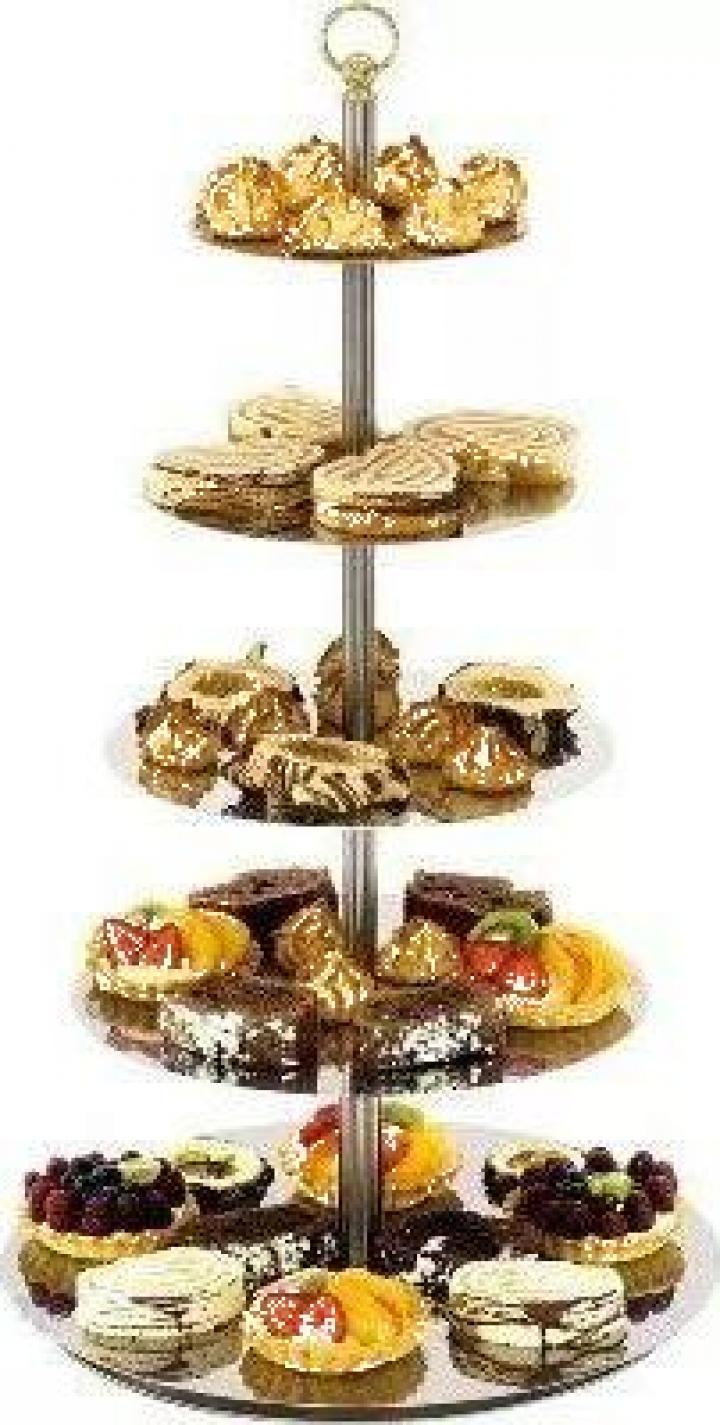 Suport inox pentru tort sau prajituri 4 etajere