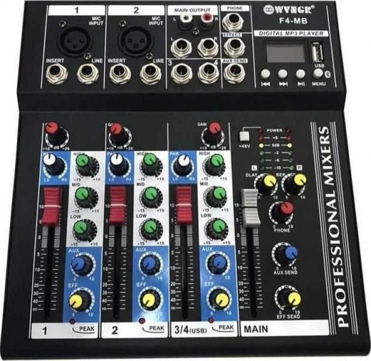 Mixer audio digital profesional fara amplificare cu 4 canale