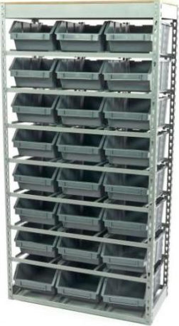 Raft metalic cu 24 de cutii depozitare