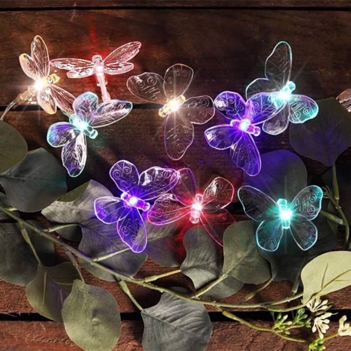 Ghirlanda solara cu 24 fluturi multicolori
