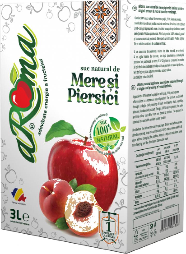 Suc natural de mere si piersici Aroma 3L