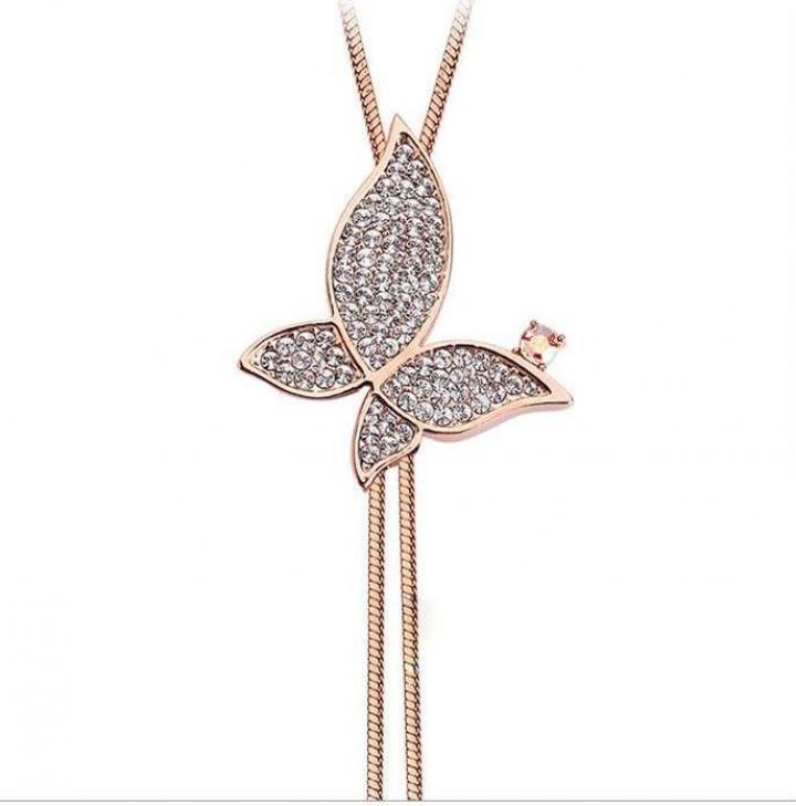 Colier Fluture cu cristale si onix Golden butterfly