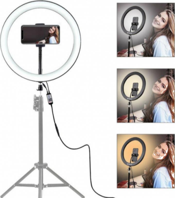 Lampa circulara cu suport selfie