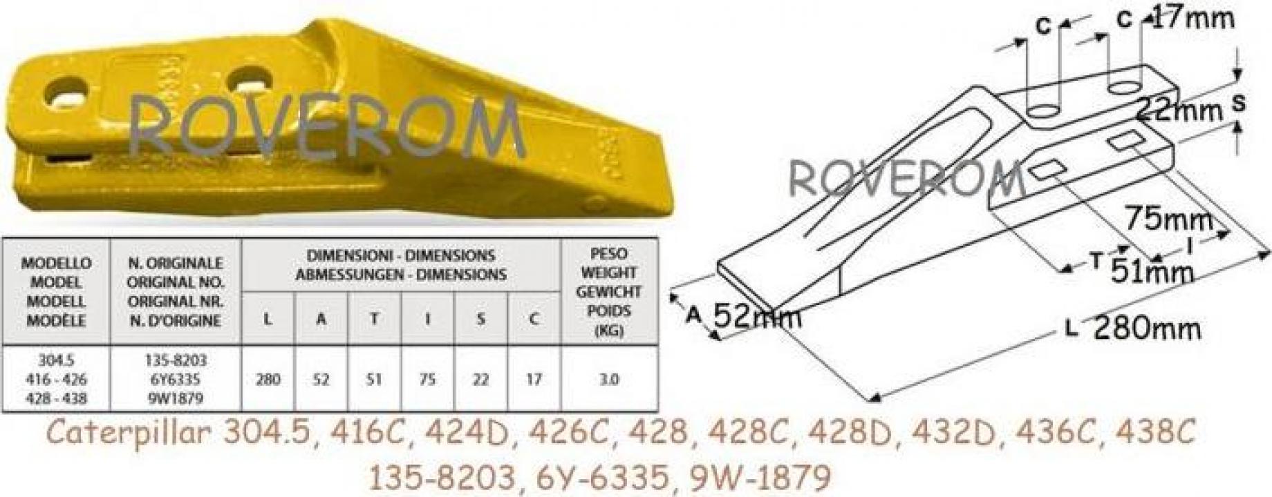 Dinte cupa Caterpillar 416C, 424D, 426C, 428, 432D, 438C