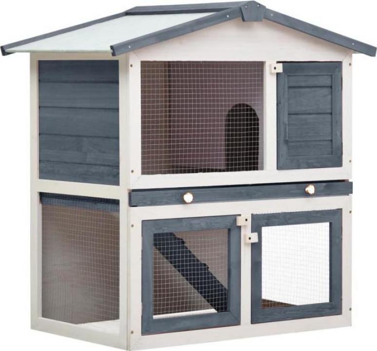 Cusca de iepuri pentru exterior, 3 usi, gri, lemn