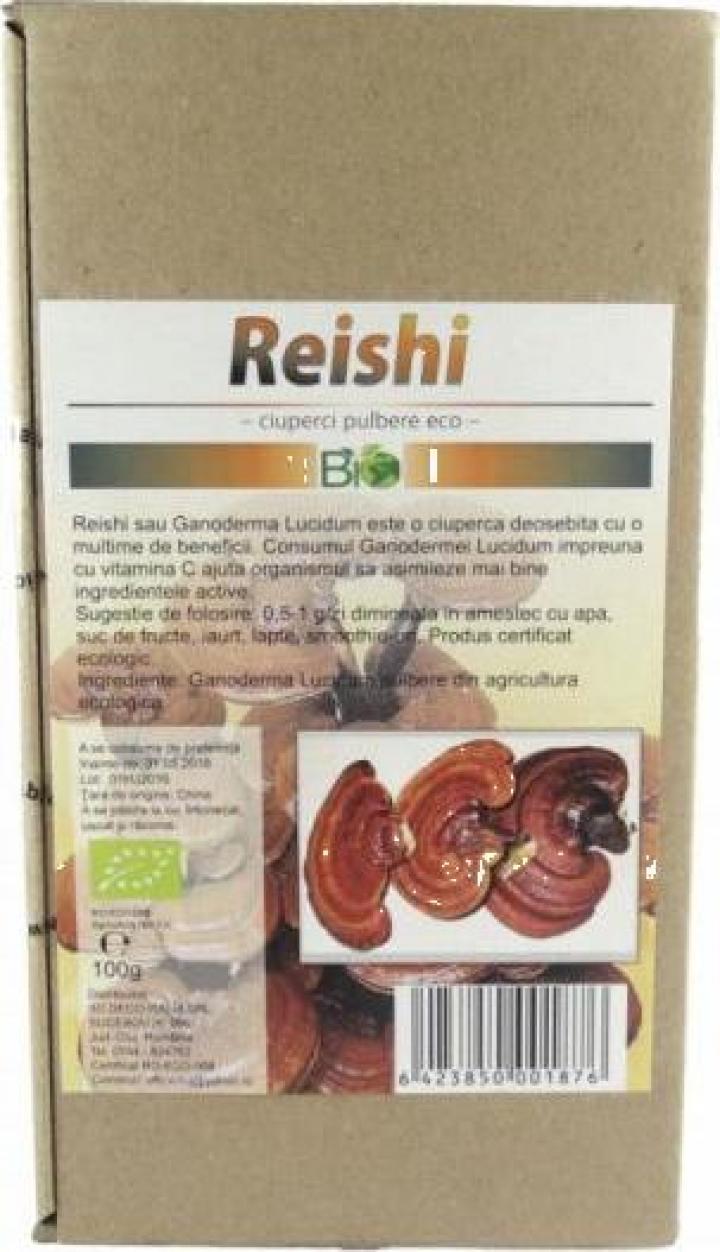 Pudra ciuperci Reishi (Ganoderma Lucidum), bio 100g